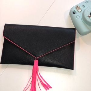 NWT black and neon pink fringe clutch